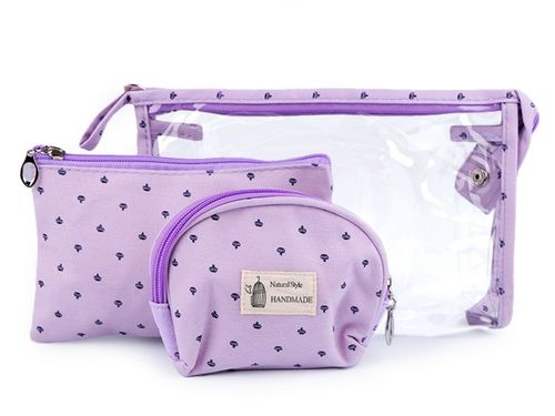 Cosmetic bag set of 3 in 4 pastel colors